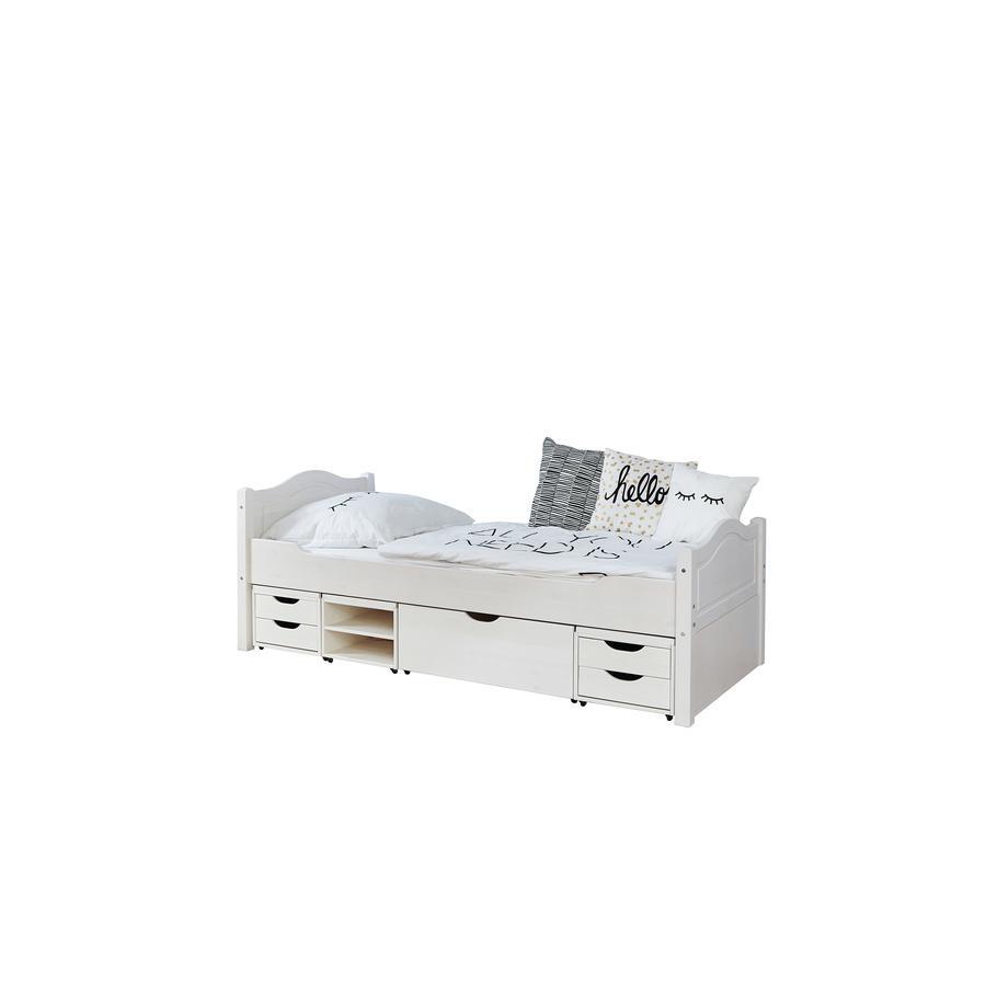 TiCAA Einzelbett Leni 100 x 200 cm Kiefer weiß mit 4 Funktionsschubladen