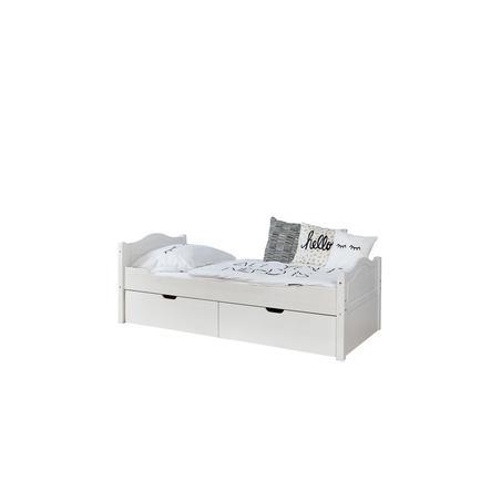 TiCAA Einzelbett Leni 100 x 200 cm Kiefer weiß mit 2 Schubladen