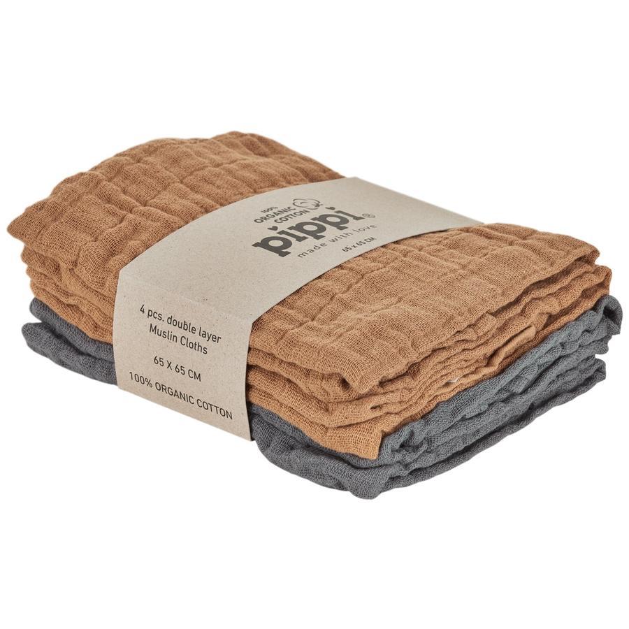 Pippi Paños de muselina paquete de 4 de bronceado indio