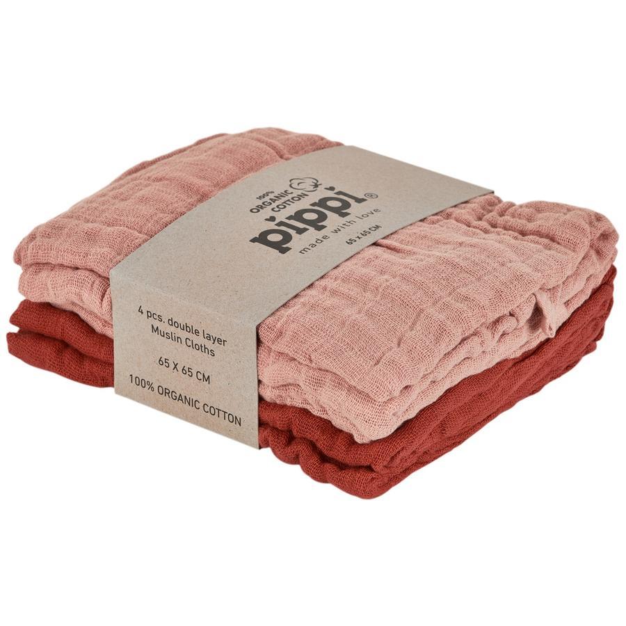 Pippi Muslin Tücher 4er Pack misty rose