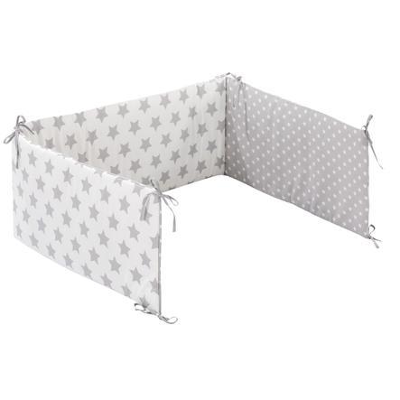 Alvi® Tour de lit enfant XL Stars argenté 210 cm
