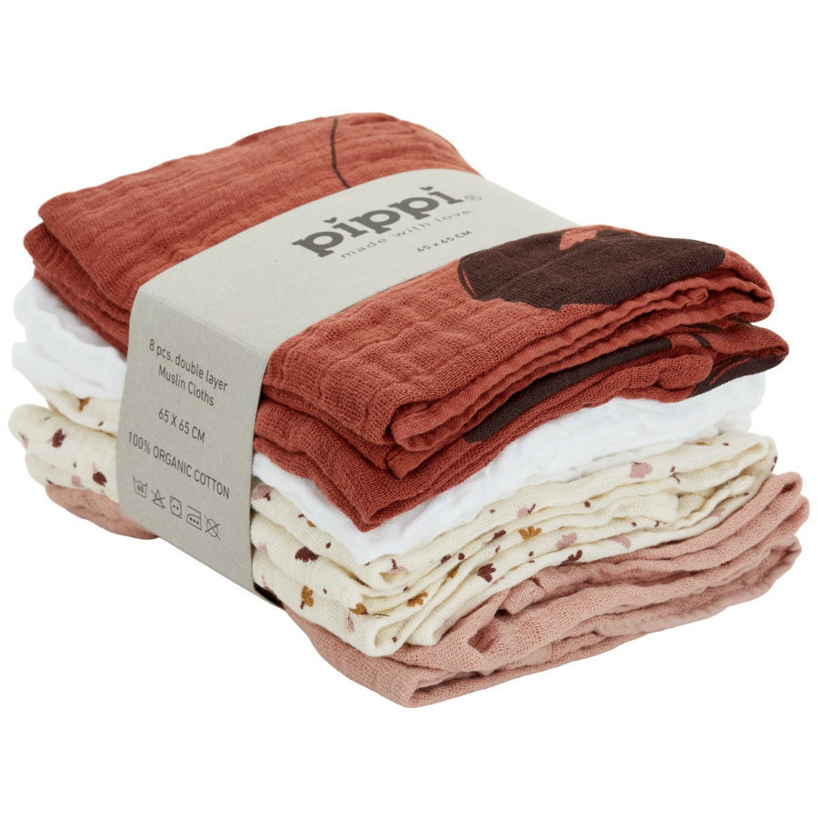 Pippi Muslin Tücher 8er Pack redwood
