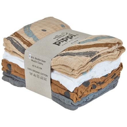 Pippi Muslin Wipes Pakke med 8 sandskaller
