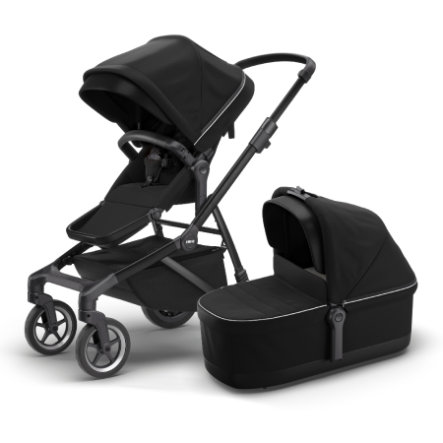 THULE Zusterwagen Sleek met babybadje Mid night  Black op Black