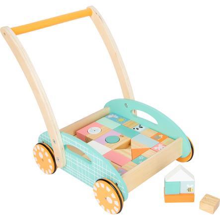 small foot® Chariot de marche enfant cubes bois pastel