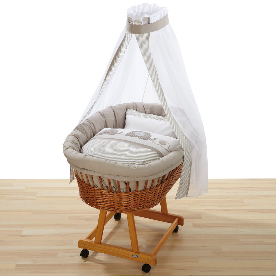 ALVI Bassinet Birthe, pine with linens 323-6 Elephant beige