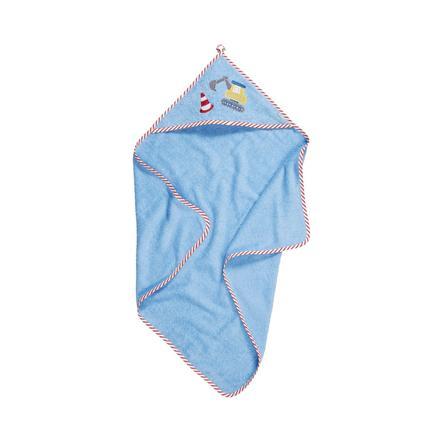 Playshoes Frottee-Kapuzentuch Baustelle blau