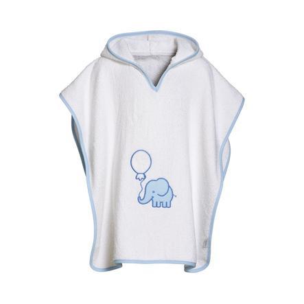 Playshoes  Badstof poncho olifant wit-blauw