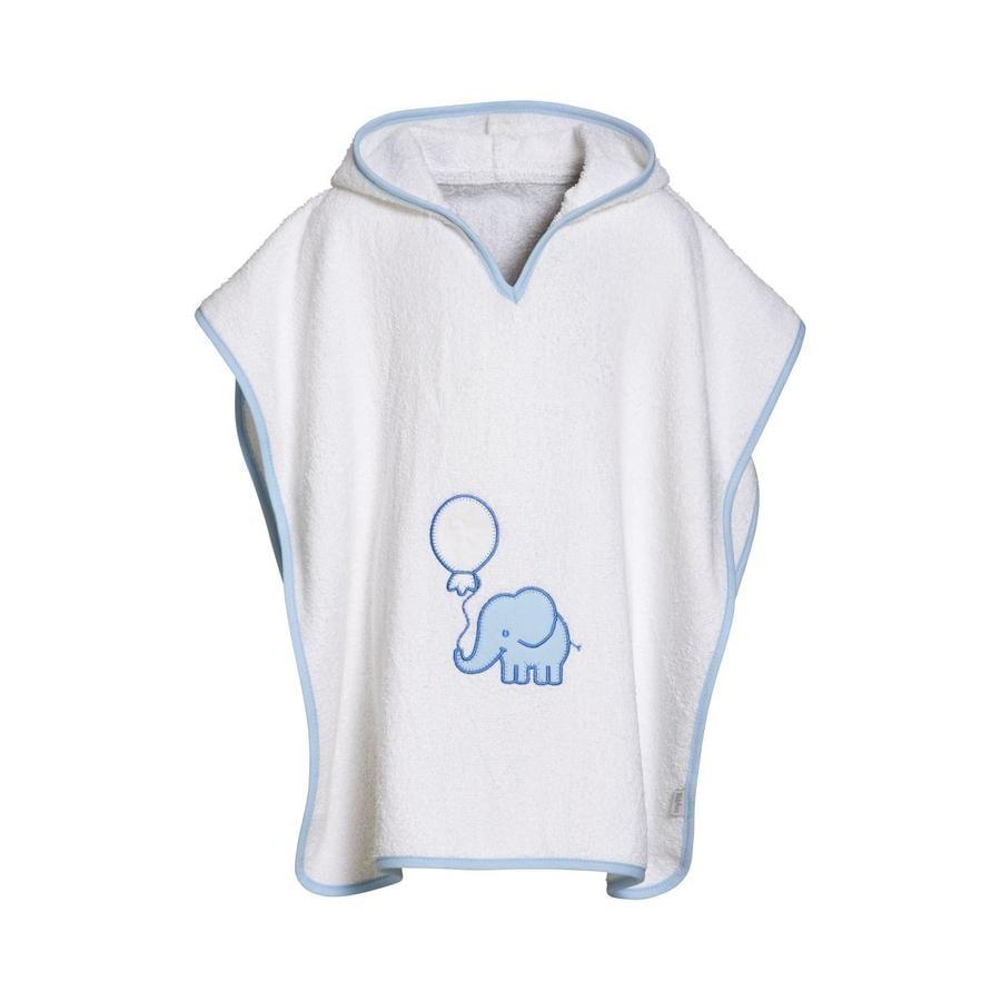 Playshoes Frottee-Poncho Elefant weiß-blau
