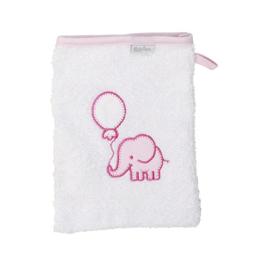 Playshoes  Gant de lavage en éponge éléphant blanc-rose