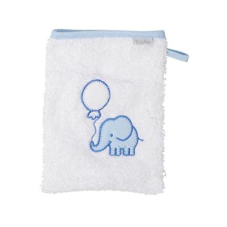 Playshoes  Gant de lavage en éponge éléphant blanc-bleu