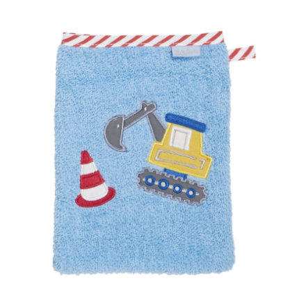 Playshoes Frottee-Waschhandschuh Bagger blau