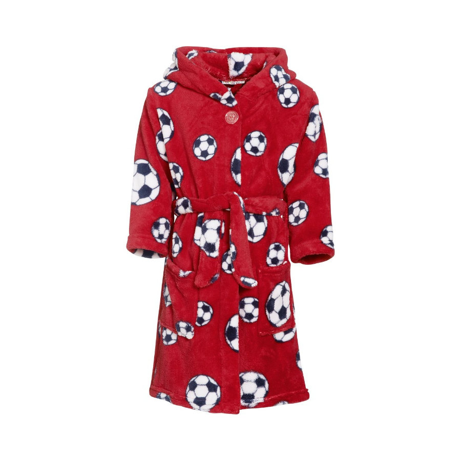 Playshoes Fleece badekåbe fodbold rød