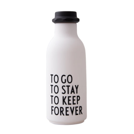 Design Letters Water Bottle To Go i hvidt
