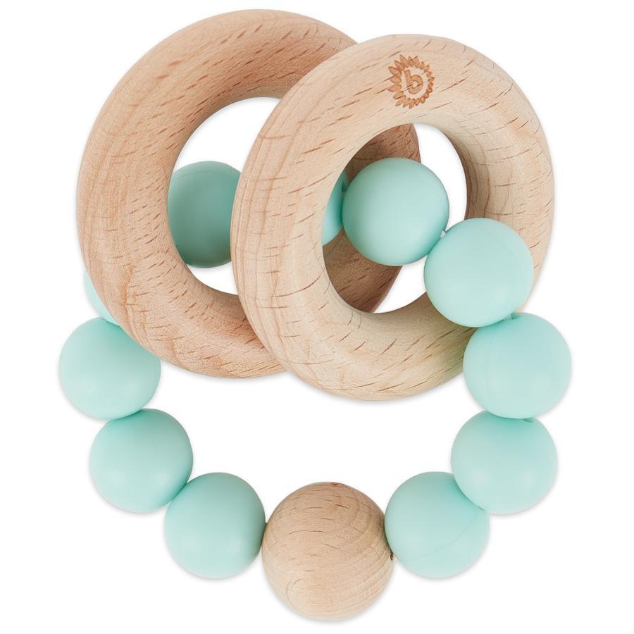 bieco Anneau de dentition bois chaîne silicone vert