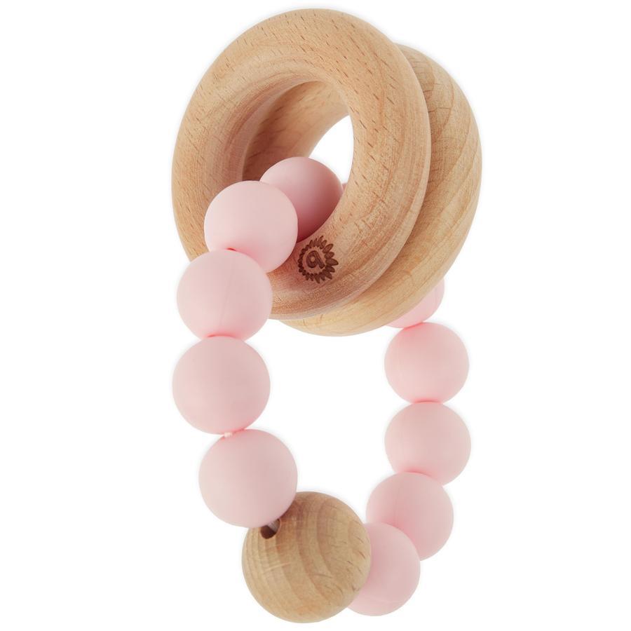 bieco Beißring mit Silikonkette rosa