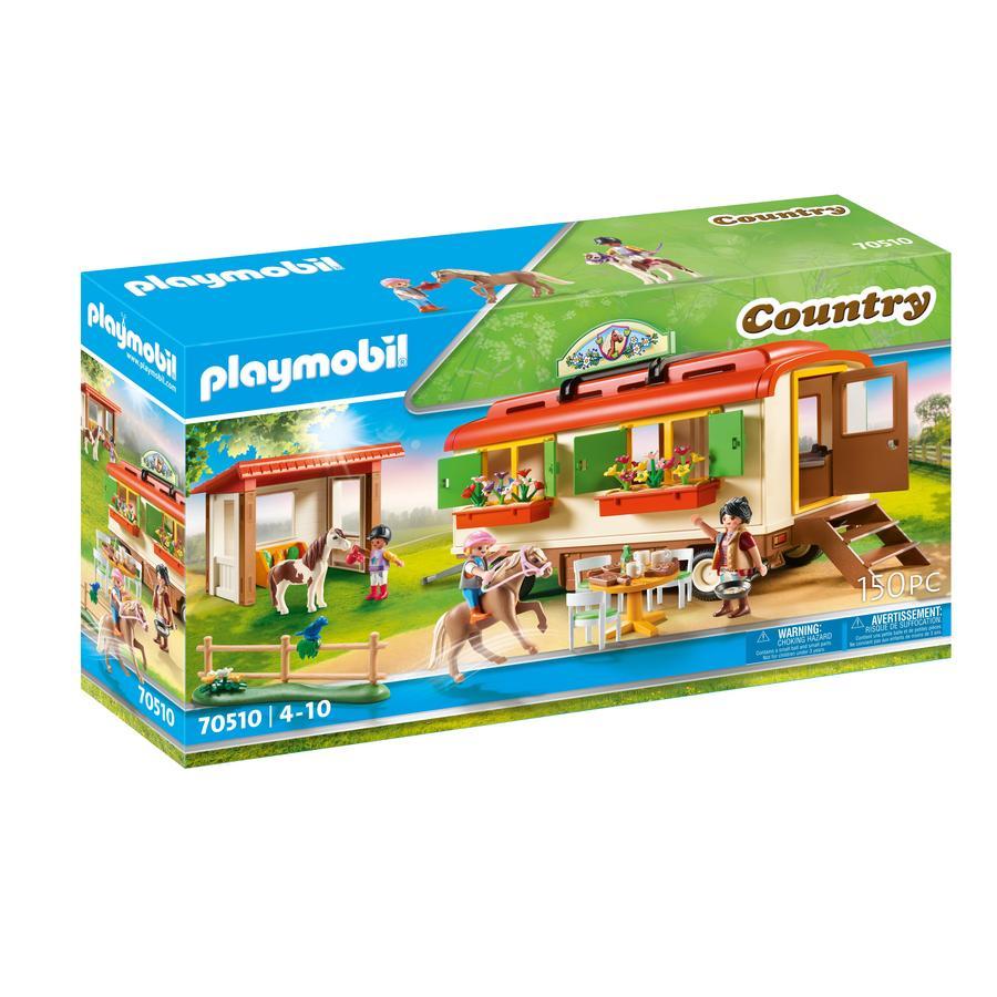 PLAYMOBIL® Figurine poney shelter et roulotte  70510