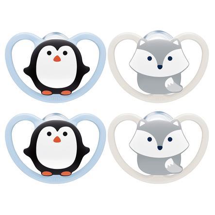 NUK Sucette Space taille 1 pingouin/renard en silicone, 4 pièces