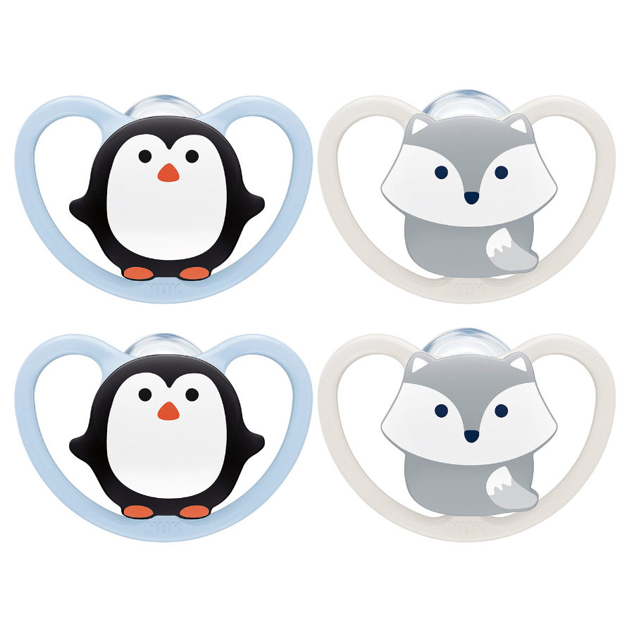 NUK Chupete Space tamaño 1 pingüino de silicona/fox, 4 piezas