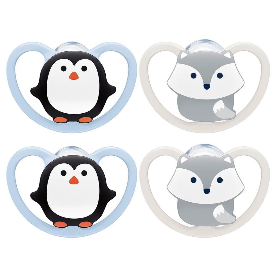 NUK Ciuccio Space misura 1 pinguino/fox in silicone, 4 pezzi