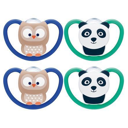 NUK Schnuller Space Gr. 3, 18 - 36 Monate Silikon Eule/Panda 4 Stück