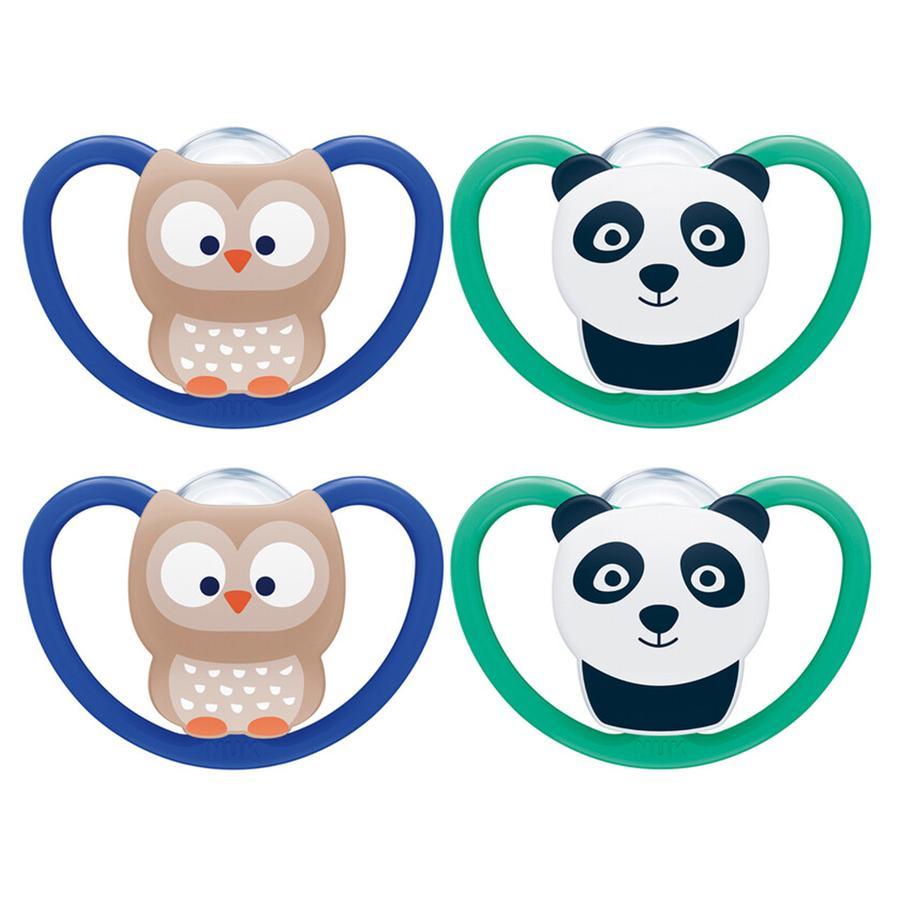 NUK Schnuller Space Gr. 3 Silikon Eule/Panda 4 Stück