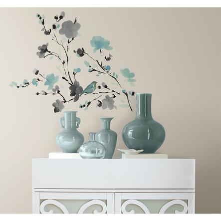 RoomMates® Blüten & Vogel Wasserfarbe