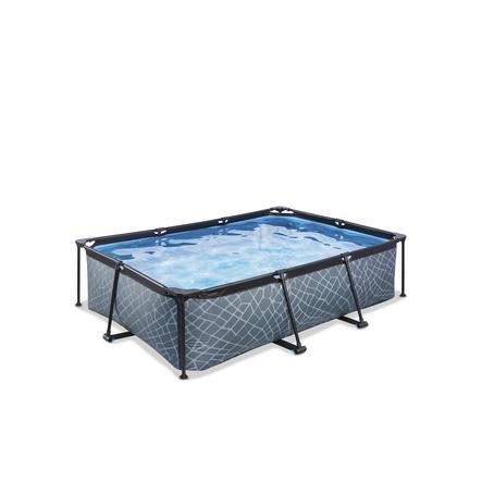 EXIT Frame Pool 220x150x60cm (12v Kartusche Filterpumpe) - Grau