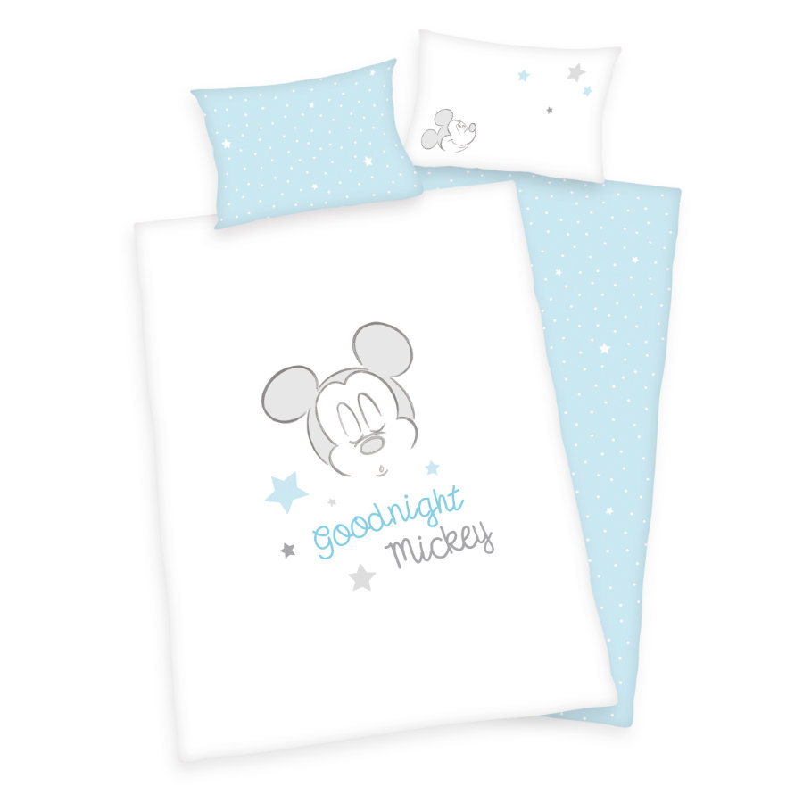 HERDING Flannelbedding Mickey Mouse GOTS 100x135 cm