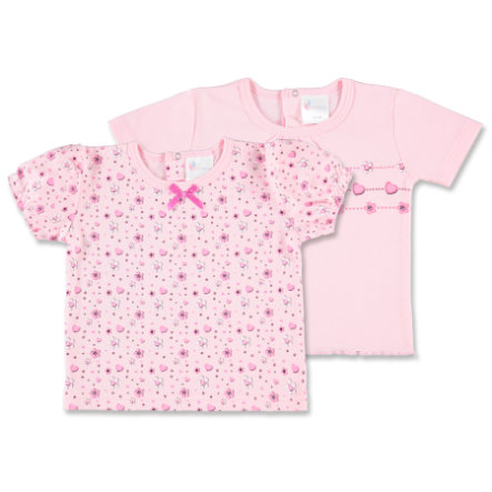 pink or blue Girls Lot de 2 t-shirts Flowers, motifs, rose