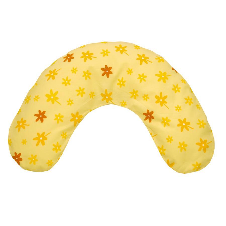 THERALINE Coussin tour de cou moyen avec housse - Petites fleurs jaunes