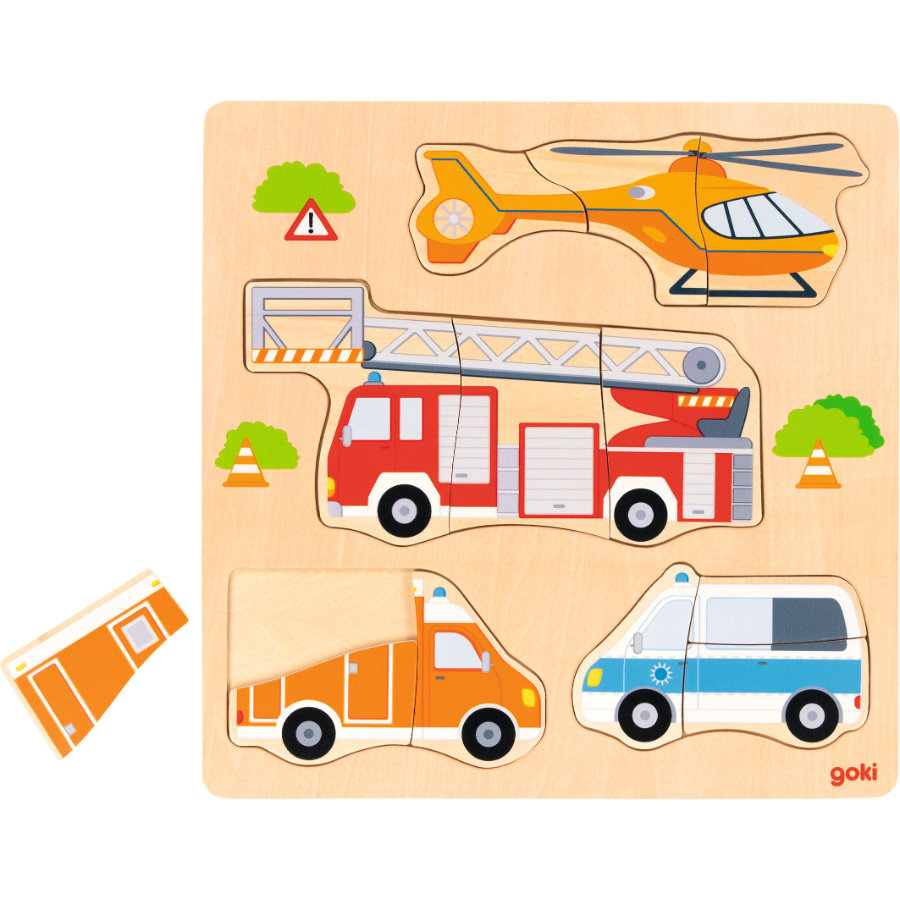 goki Einlegepuzzle Rettungsfahrzeuge