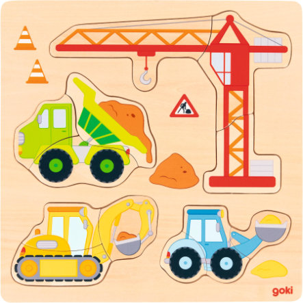 goki Einlegepuzzle Baufahrzeuge