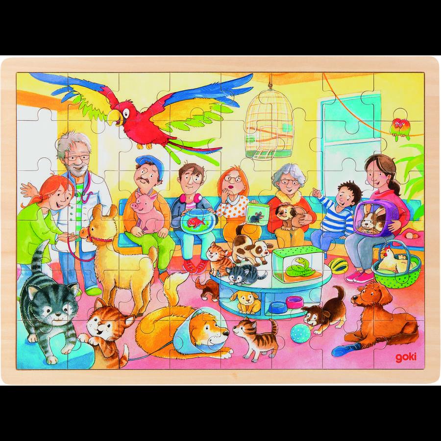 goki Einlegepuzzle Im Wartezimmer vom Tierarzt