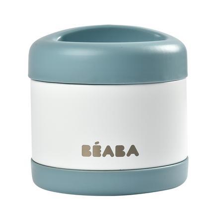 BEABA Pot de conservation repas inox 500 ml baltic bleu/blanc