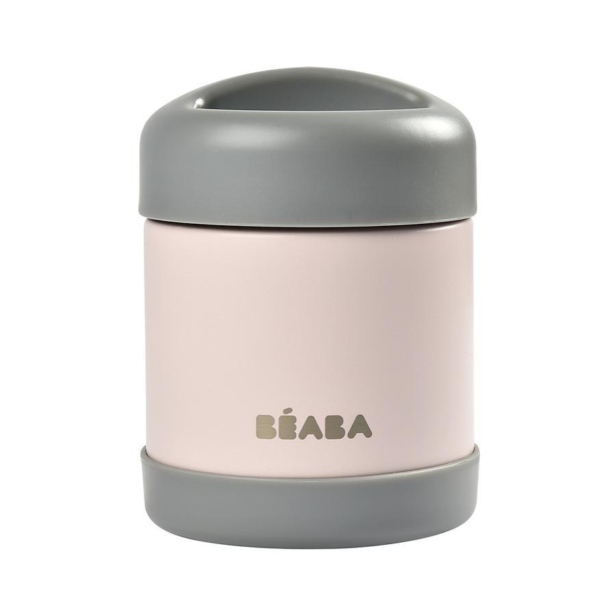 BEABA Portionsbehälter aus Edelstahl 300 ml in dunkelgrau/hellrosa