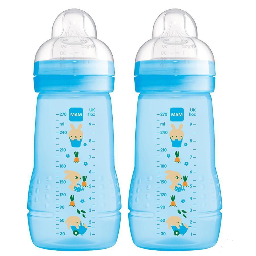MAM Babyflasche Easy Active 270 ml 0+ Monate, Hase, 2er Set