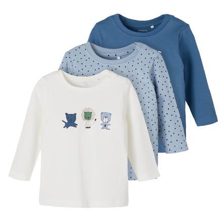 name it Camisa de manga larga 3-pack NBMTEMEN Dusty Azul