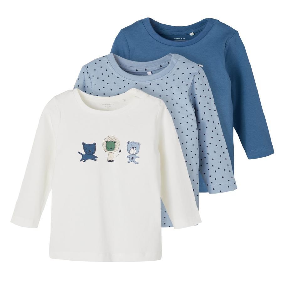 name it 3-pack NBMTEMEN shirt met lange mouwen Dusty Blauw