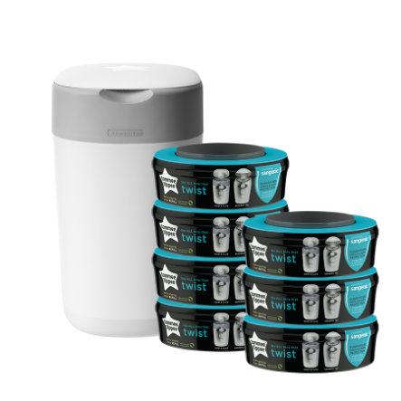 Tommee Tippee Twist & Click Luieremmer incl. 7 cassettes wit