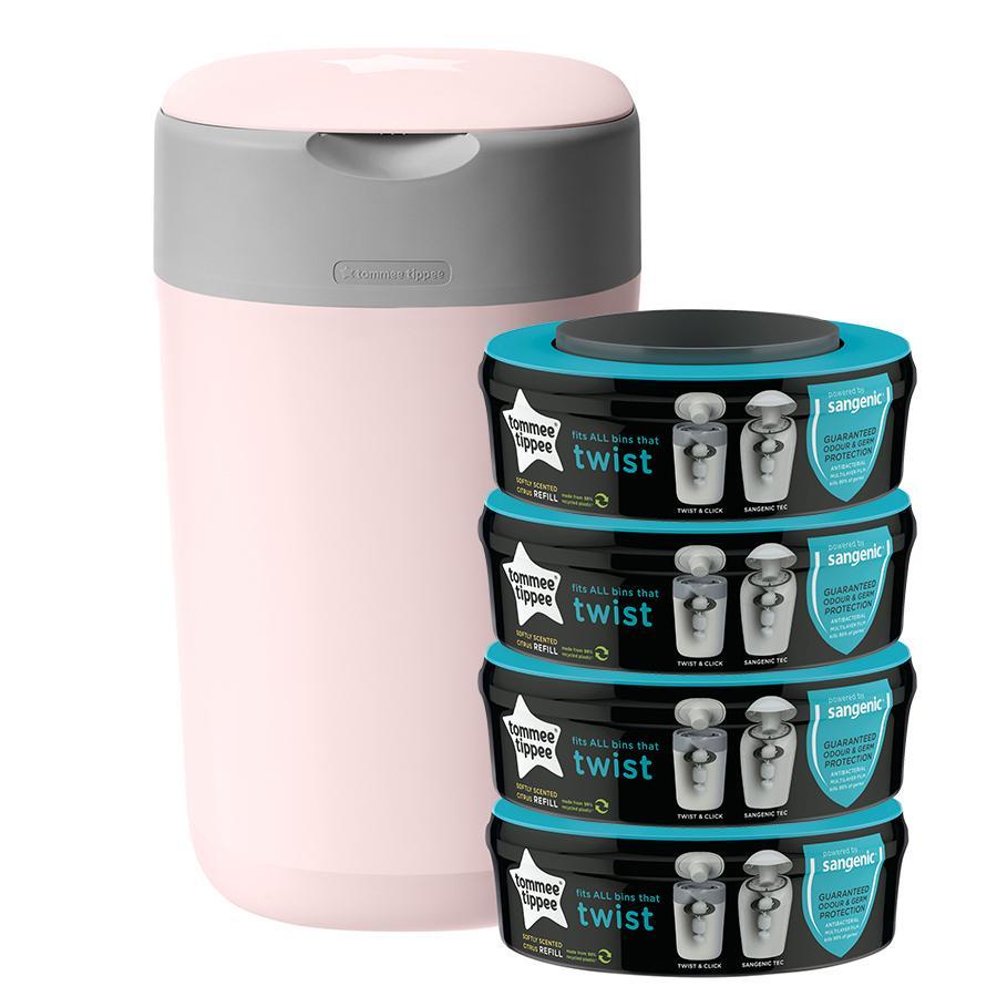 Tommee Tippee Twist & Click Windeleimer inkl. 4 Kassetten rosa