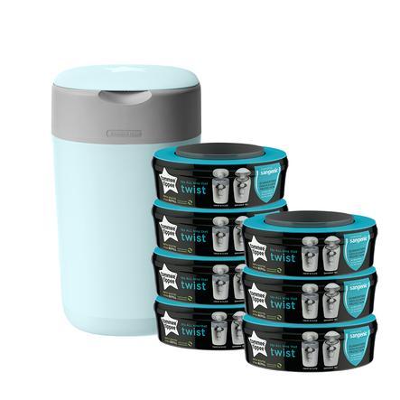 Tommee Tippee Poubelle à couches Twist & Click 7 recharges bleu