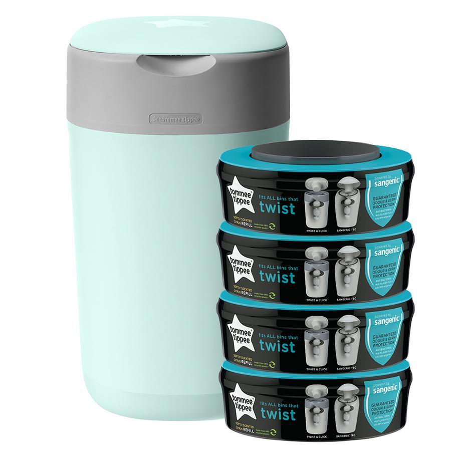 Tommee Tippee Twist & Click Windeleimer inkl. 4 Kassetten grün