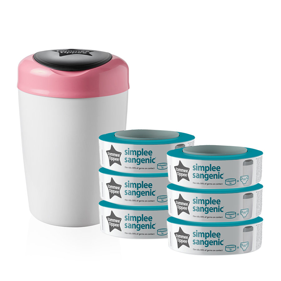 Tommee Tippee Luieremmer Sangenic Simple e incl. 6 cassettes wit/roze