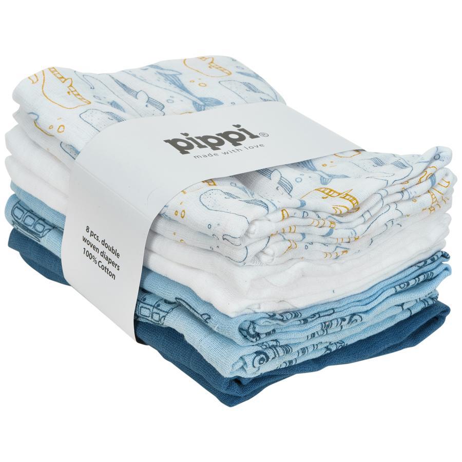 Pippi Muslin Tücher 8er Pack province blue