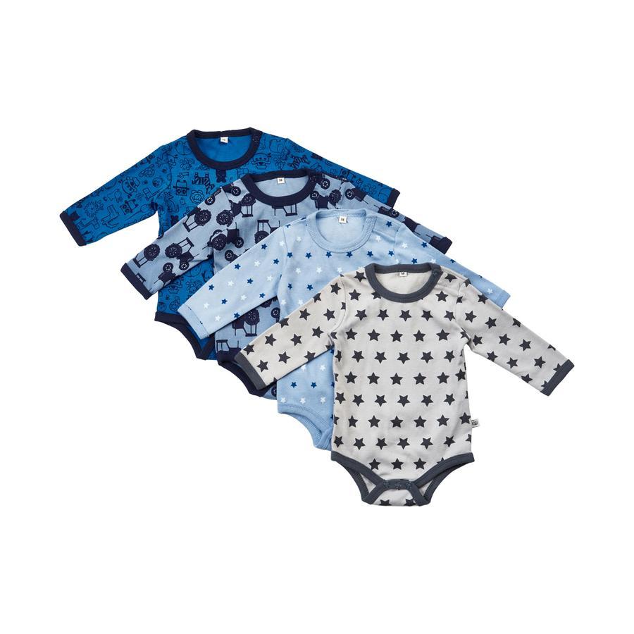 Pippi Body med langermet 4-pakning blå