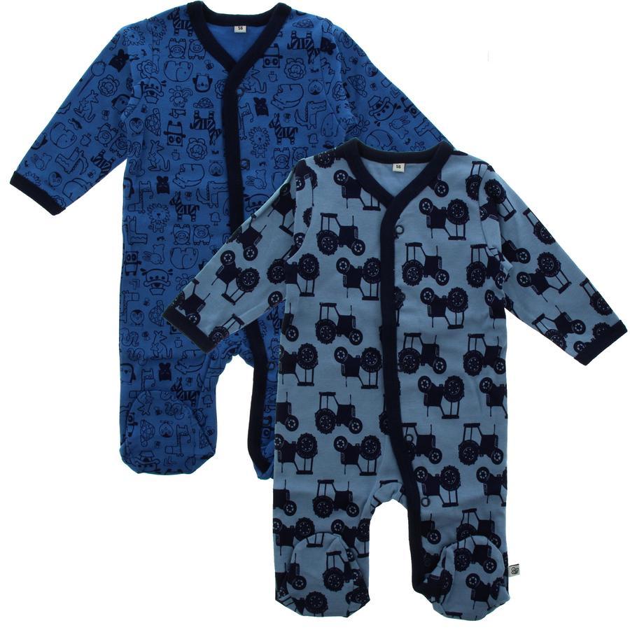 Pippi Schlafanzug mit Beinen 2er-Pack blue
