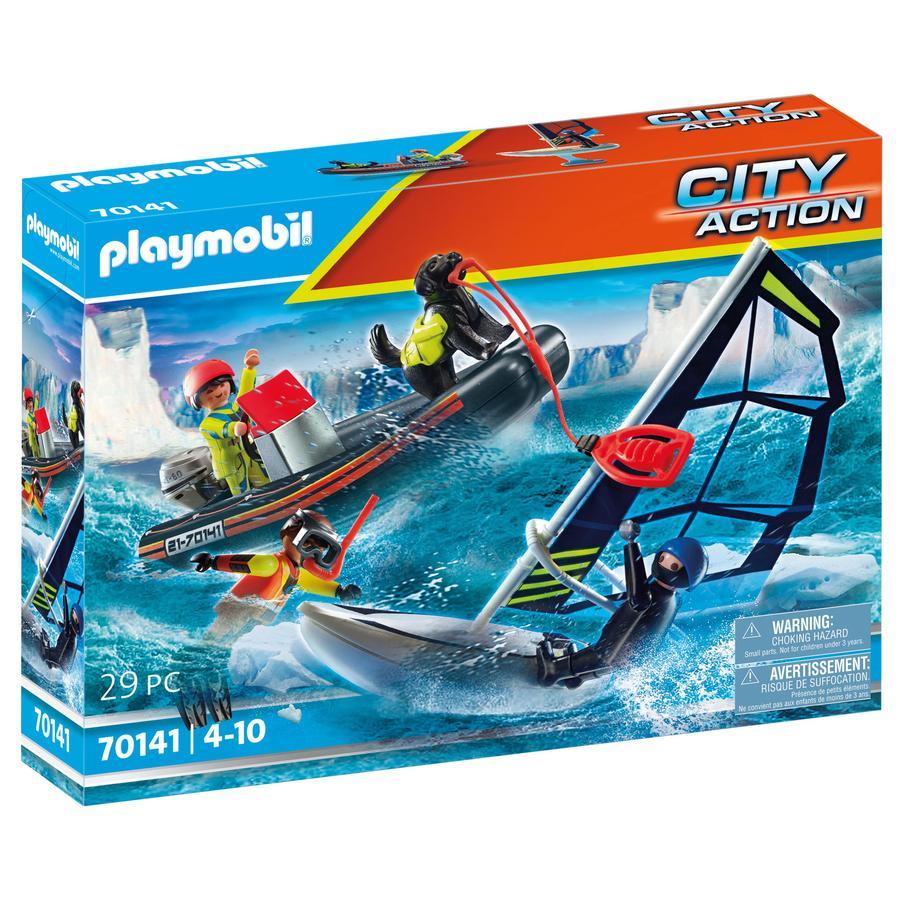 PLAYMOBIL® City Action nød på sjøen: polar sjømannredning med oppblåsbar båt 70141