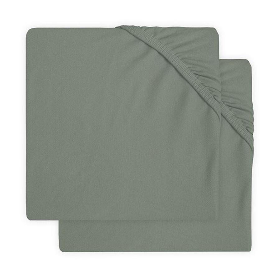 jollein Sábana bajera de jersey paquete de 2 cenizas green 60x120 cm
