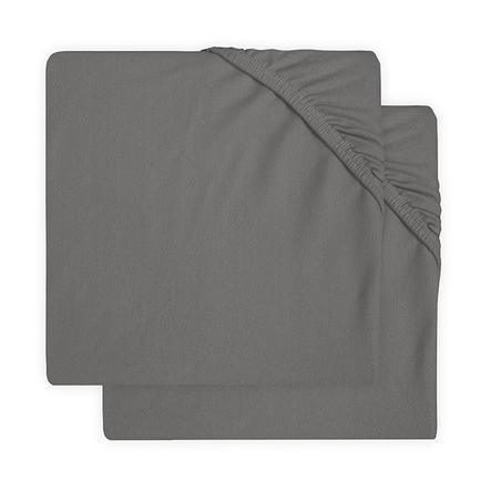 jollein Lenzuolo con angoli in jersey 2 pezzi grigio tempesta 60x120 cm